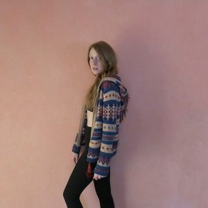 Anthropologie Fair Isle Hooded Sweater by Sparrow
